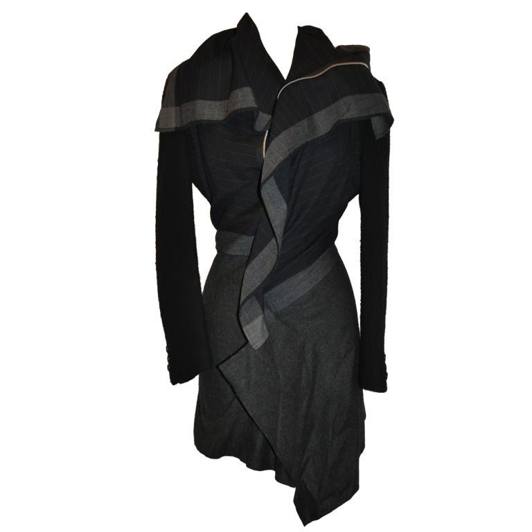 Comme des Garcon Multi-Wool Multi-Print Deconstructed Zipper Jacket