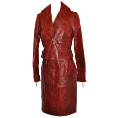 Roberto Cavalli Burgundy Embossed Crocodile Leather Emsemble