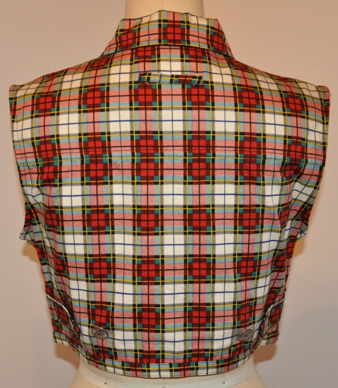 Jean Paul Gaultier Plaid Cropped Button-Down Top 2
