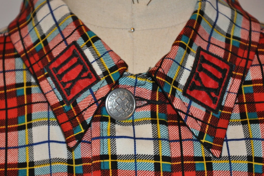 Jean Paul Gaultier Plaid Cropped Button-Down Top 4