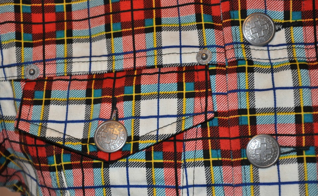 Jean Paul Gaultier Plaid Cropped Button-Down Top 5