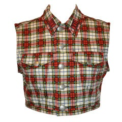 Jean Paul Gaultier Plaid Cropped Button-Down Top