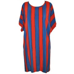 Apostrophe Blue & Red with Thin Black Stripe Silk Tunic