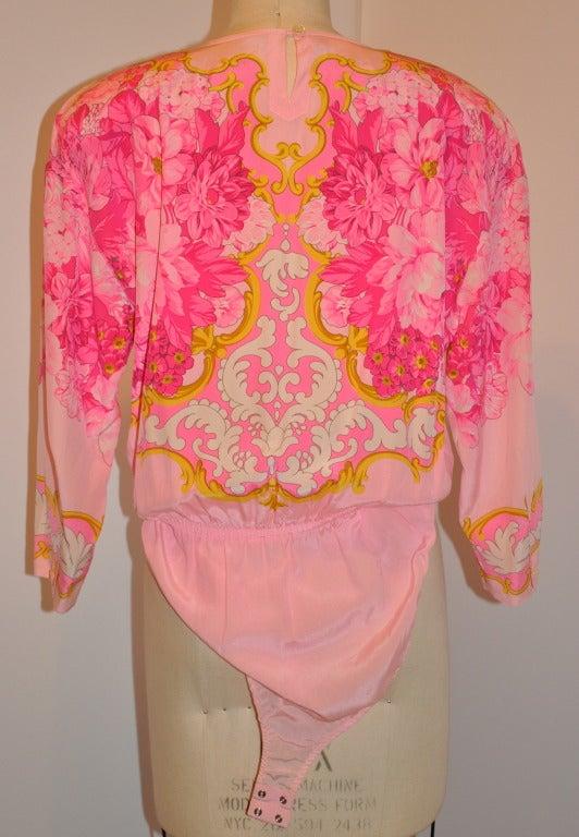 Pink Escada Floral-Print Silk BodySuit Blouse For Sale