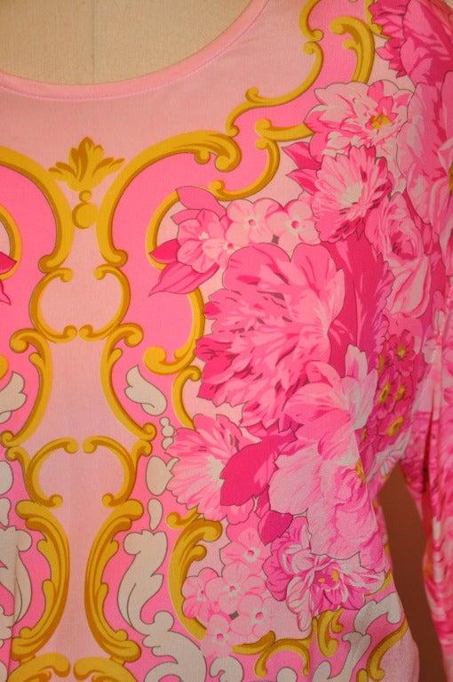 Women's Escada Floral-Print Silk BodySuit Blouse For Sale