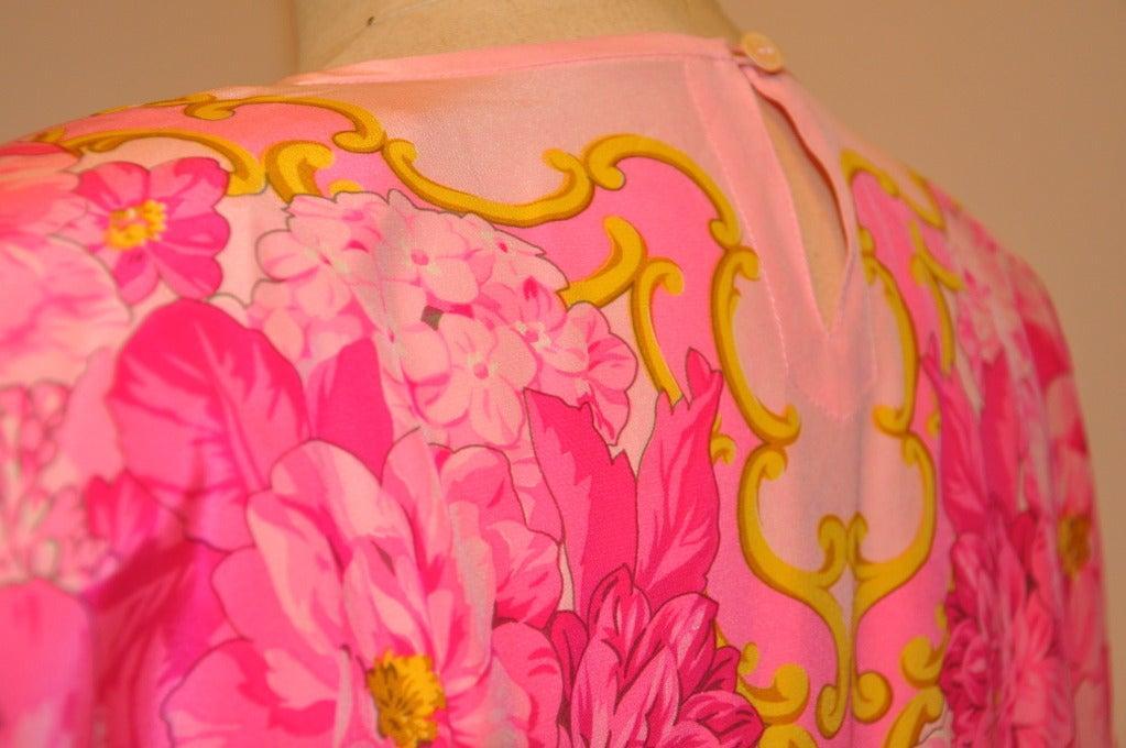 Escada Floral-Print Silk BodySuit Blouse For Sale 1