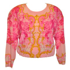 Escada Floral-Print Silk BodySuit Blouse