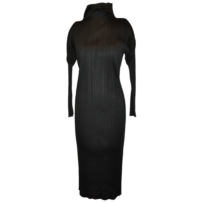 Issey Miyake Black High-Neck Pleated Dress For Sale