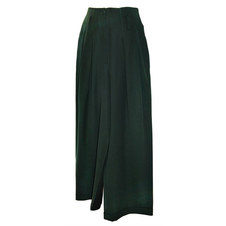 Claude Montana Forest-Green Wide-Leg Trousers