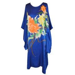 Blue Hand-Painted Silk Caftan