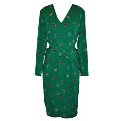 "Guy Laroche ""Boutique"" Crepe de Chine Emerald-Green ""Bow"" Dress"