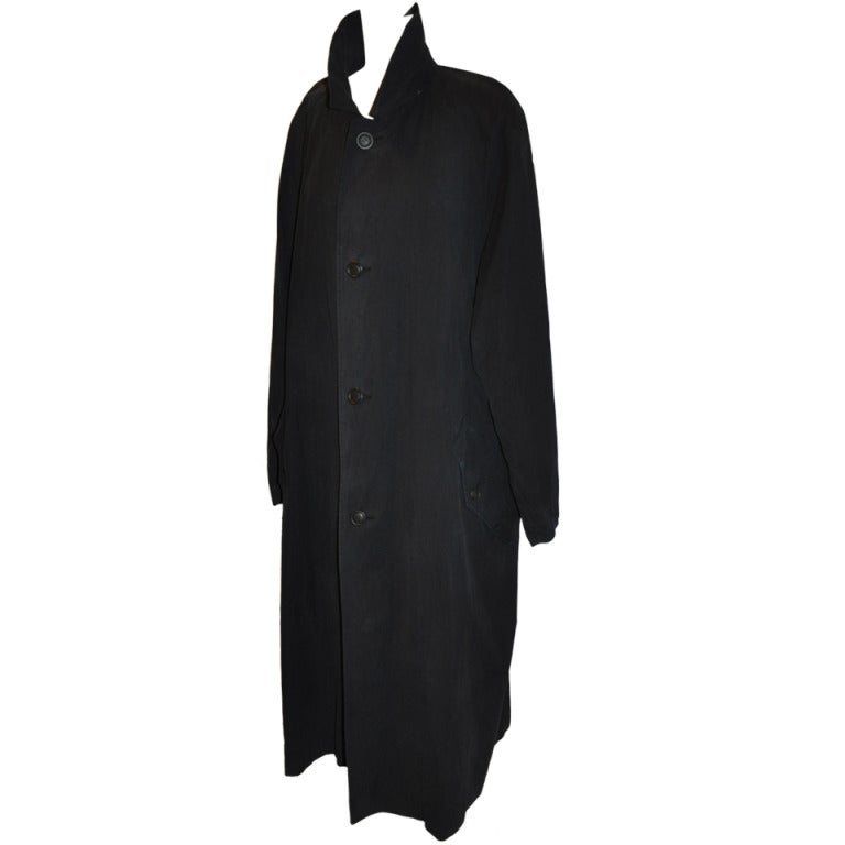 Issey Miyake Men's Black Trench Coat For Sale