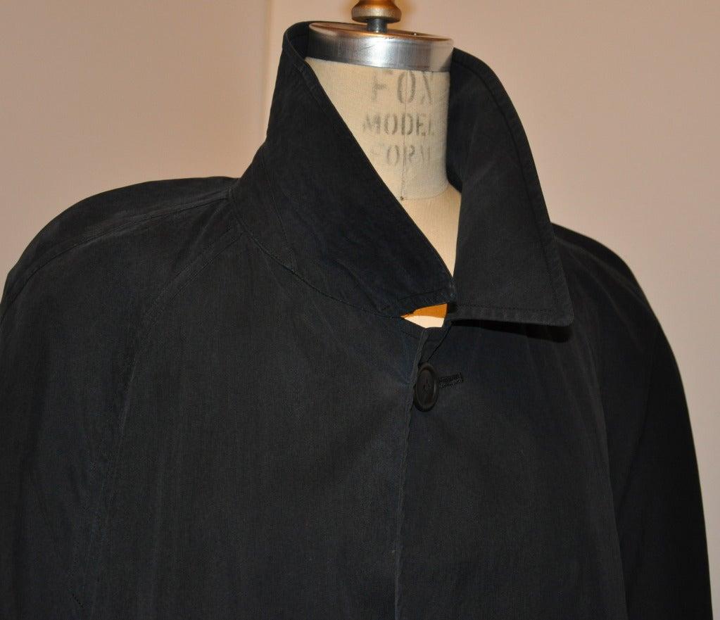 Issey Miyake men's black trench coat measures 49