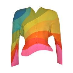 "Rare Signature Thierry Mugler ""Rainbow"" Form-Fitting ""Work of Art"" Blazer"
