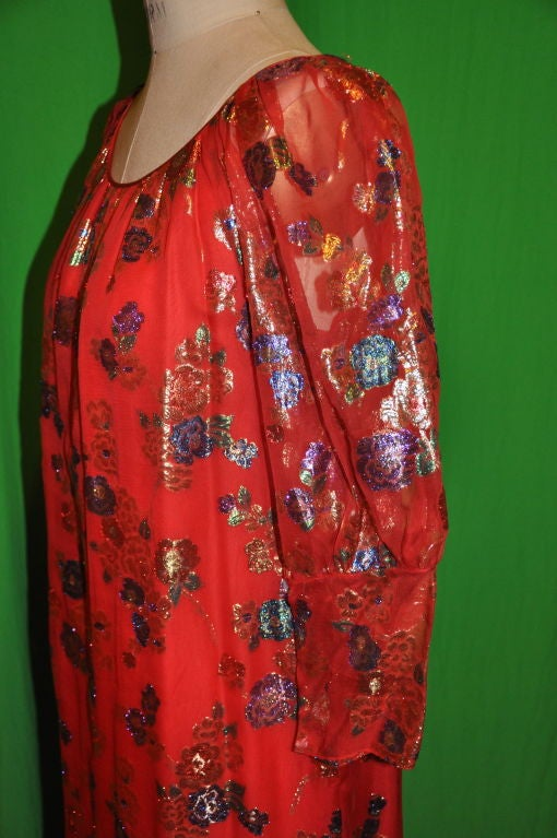 Women's YSL's Red silk chiffon with gold lame patterned cocktail dress