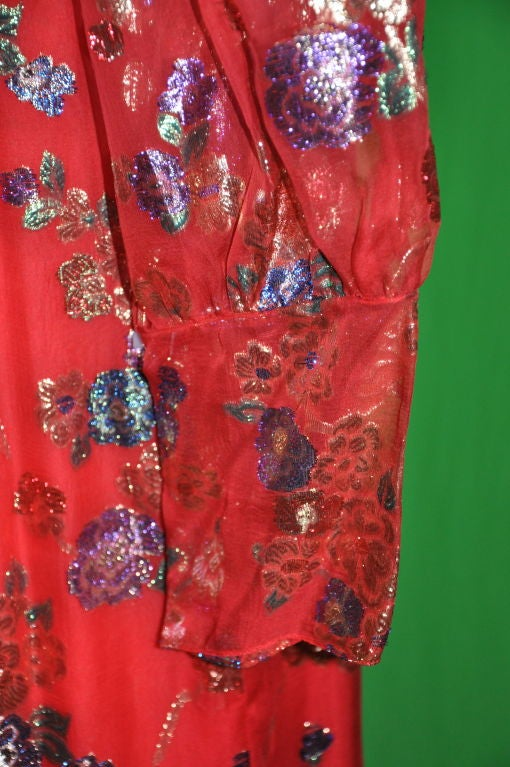 YSL's Red silk chiffon with gold lame patterned cocktail dress 1