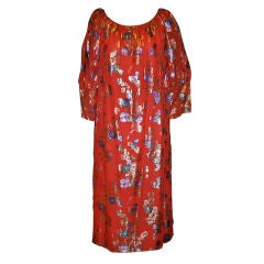 YSL's Red silk chiffon with gold lame patterned cocktail dress