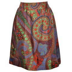 Pierre Cardin Multi-Colored Multi-Print Fully-Lined Silk Skirt