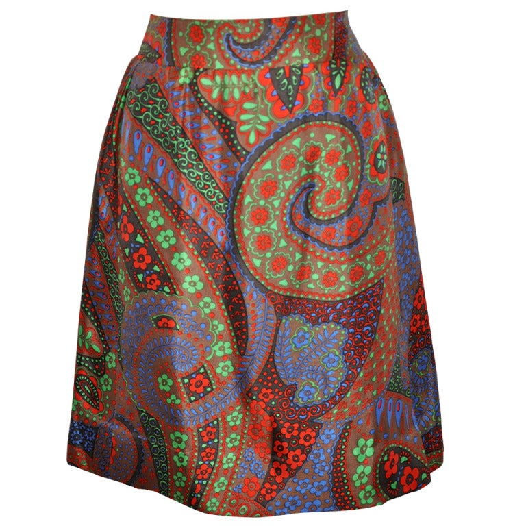 Pierre Cardin Multi-Colored Multi-Print Fully-Lined Silk Skirt For Sale