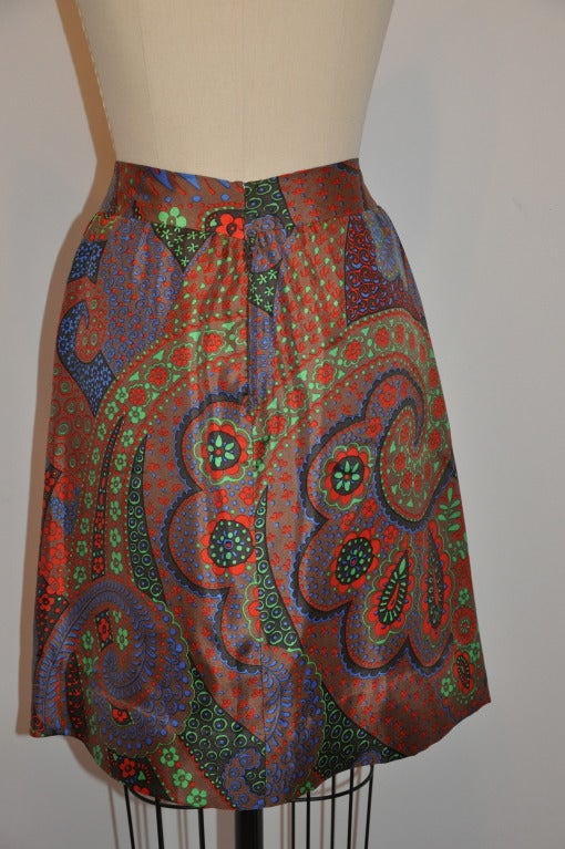 Brown Pierre Cardin Multi-Colored Multi-Print Fully-Lined Silk Skirt For Sale