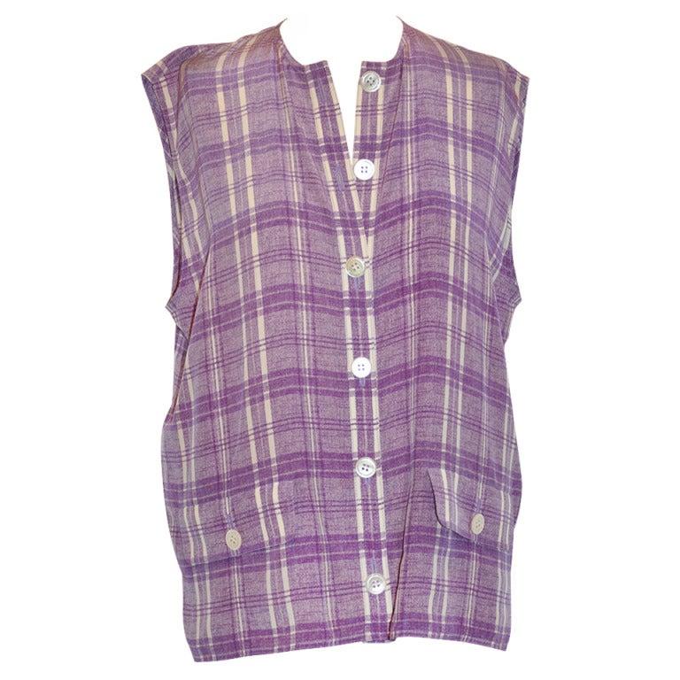 "Valentino ""Boutique"" Lavender & White Plaid Sleeveless Button Top"