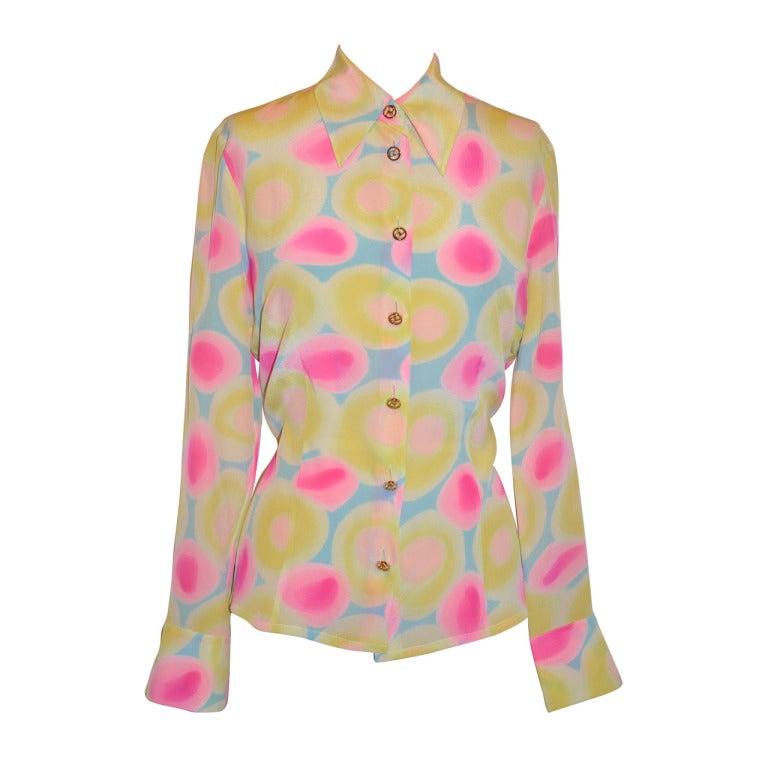 Guy Laroche Multi-Pastel Color Silk Button Blouse