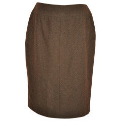 Chanel Brown Cashmere Pencil Skirt