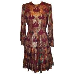 Christian Rupert Mult-Color Metallic Gold Brocade Pleated Evening Dress