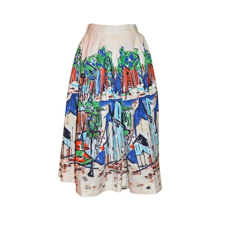 "Hand-painted circular ""Capri"" print cotton skirt"