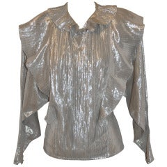 Emmanuelle Khanh Metallic Silver Lame Pleated Blouse