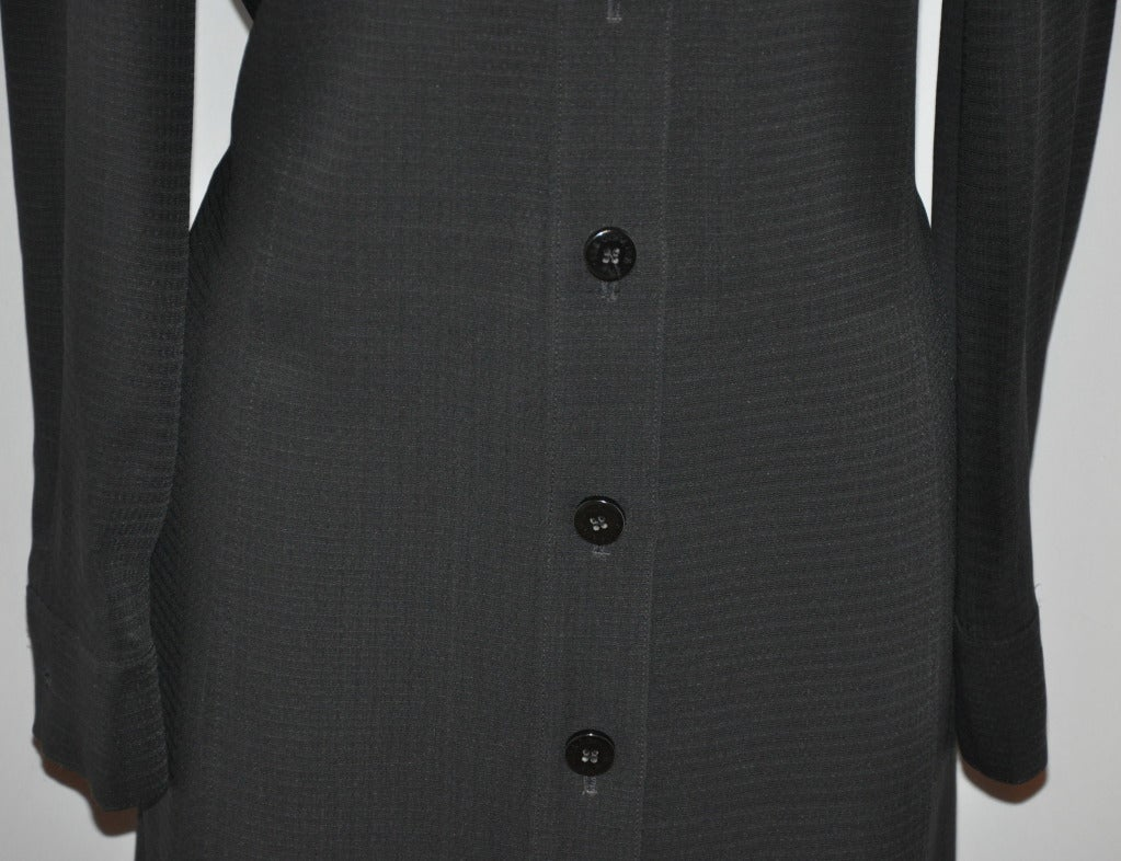 Les Copains Black Button-Down Shirt-Dress In Excellent Condition For Sale In New York, NY