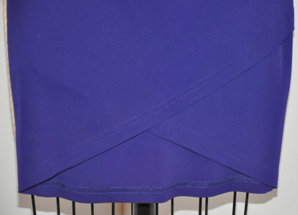 Ozbek bold purple wide-band elestic waist skirt has an over-lapping front detailing.