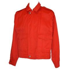 Bijan Men's Italian Red Fully Lined Zipper Jacket