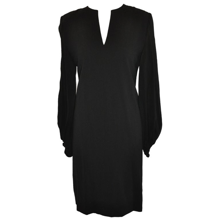 Carolyn Roehm Balc Cocktail With Full Chiffon Sleeve Dress
