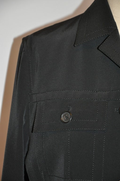 Prada Black Stretch Button-Down Jacket In Excellent Condition For Sale In New York, NY