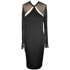 C.D. Greene Black Silk Jersey & Silk Chiffon Cocktail Dress