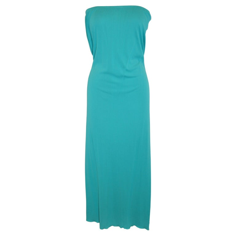 Julio Bold Turquoise Slim-Cut Strapless dress/ Long Evening Skirt For Sale