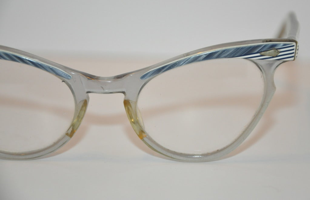 Vintage Tortoise Shell Eyeglass Frames : Vintage Clear with Tortoise Shell Accents Glasses For Sale ...