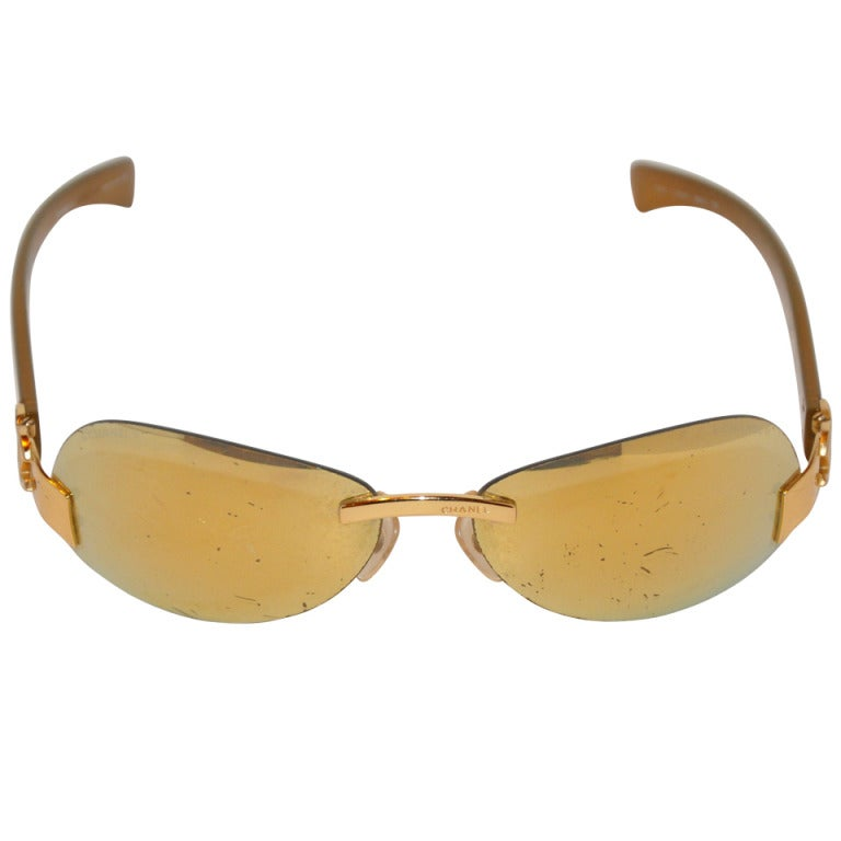 Chanel Mirrored Gold Frame with Additioned Replacement Lens Sunglasses