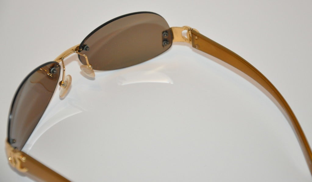 Gold Frame Chanel Sunglasses : Chanel Mirrored Gold Frame with Additioned Replacement ...
