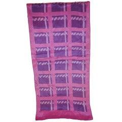 Bill Blass Bold Print Shades of Lavender Silk Scarf