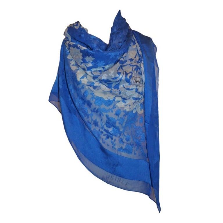 Huge Yves Saint Laurent Silk Chiffon with Velvet Brocade Scarf