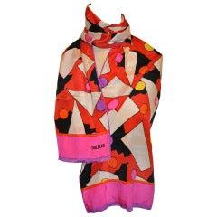 Bill Blass Bold Abstract Silk Scarf