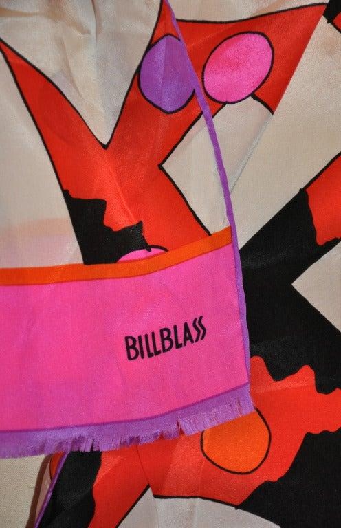 Bill Blass bold abstract print silk scarf measures 11