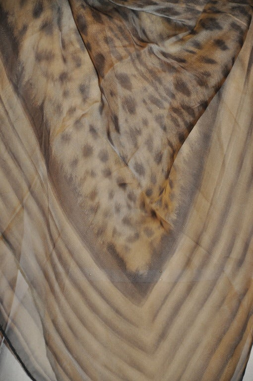 """Roberto Cavalli silk chiffon huge leopard-print scarf measures 53"""" x 54"""" and finished with hand-rolled edges."""