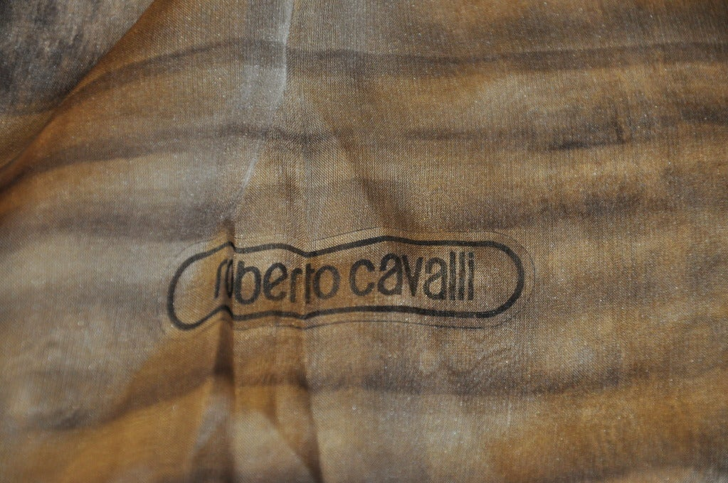 Roberto Cavalli Silk Chiffon Leopard-Print Huge Scarf In Excellent Condition For Sale In New York, NY