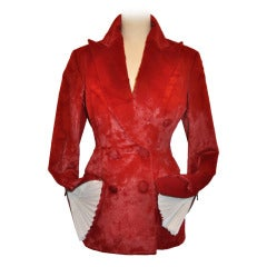 Richard Tyler Deep-Red Pony-Like Double-Breasted Detailed Ruffles Cuff Jacket