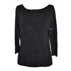 Carmen Marc Valvo Black Jersey with Beadwork Pullover.