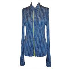 Roberto Cavailli Wavy-Stripe Shades of Blue Snap-Front Shirt