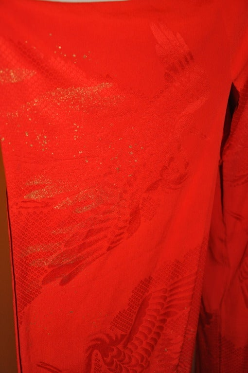 Authenic Hand-Painted With Gold Specks Fully-Lined Red Kimono 4